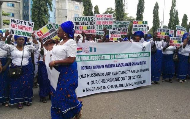 Nigerian traders protest Ghanaian authorities refusal to open locked shops
